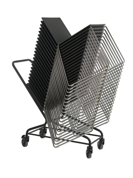 Stacked Dry chairs on trolley